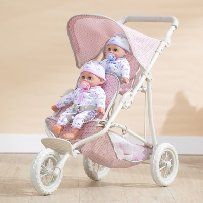 Olivia's Little World - Polka Dots Princess Baby Doll Twin Jogging Stroller - Pink & Gray