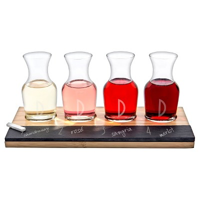 Cathy's Concepts® 4pc Monogram Bamboo & Slate Wine Tasting Flight D
