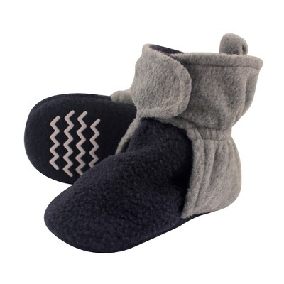 Hudson Baby Infant and Toddler Boy Cozy Fleece Booties, Navy Heather Gray