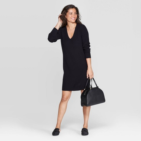 Women's V-Neck Long Sleeve Sweater Dress - A New Day™ - image 1 of 3