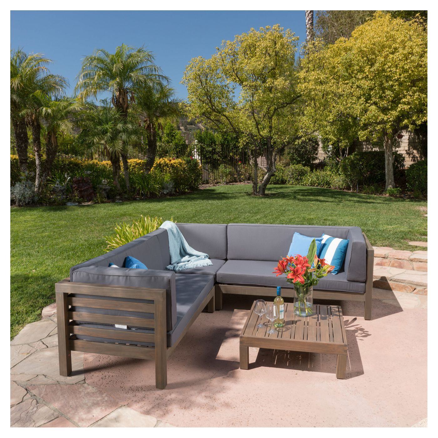 4-Pack Oana Acacia Wood Patio Sectional Chat Set
