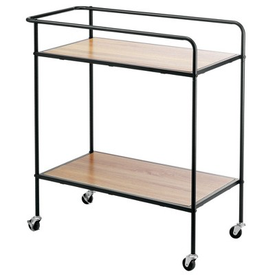 mDesign Portable Rolling Bar Cart Organizer Trolley - 2 Shelves