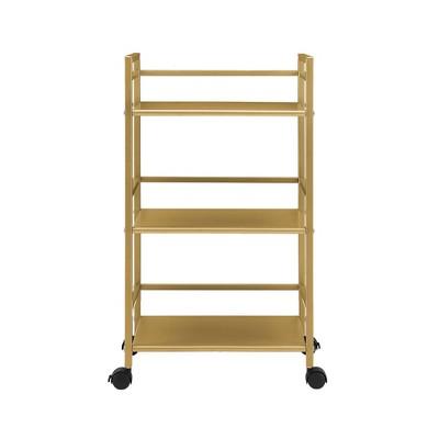 3 Shelves Helix Metal Rolling Utility Cart Gold - Novogratz