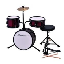 Spectrum Music Junior Drum Set with Throne, Bass Pedal and Drum Sticks - Red
