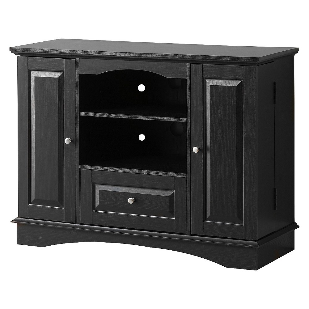 42 Highboy Wood TV Media Stand Storage Console - Black - Saracina Home