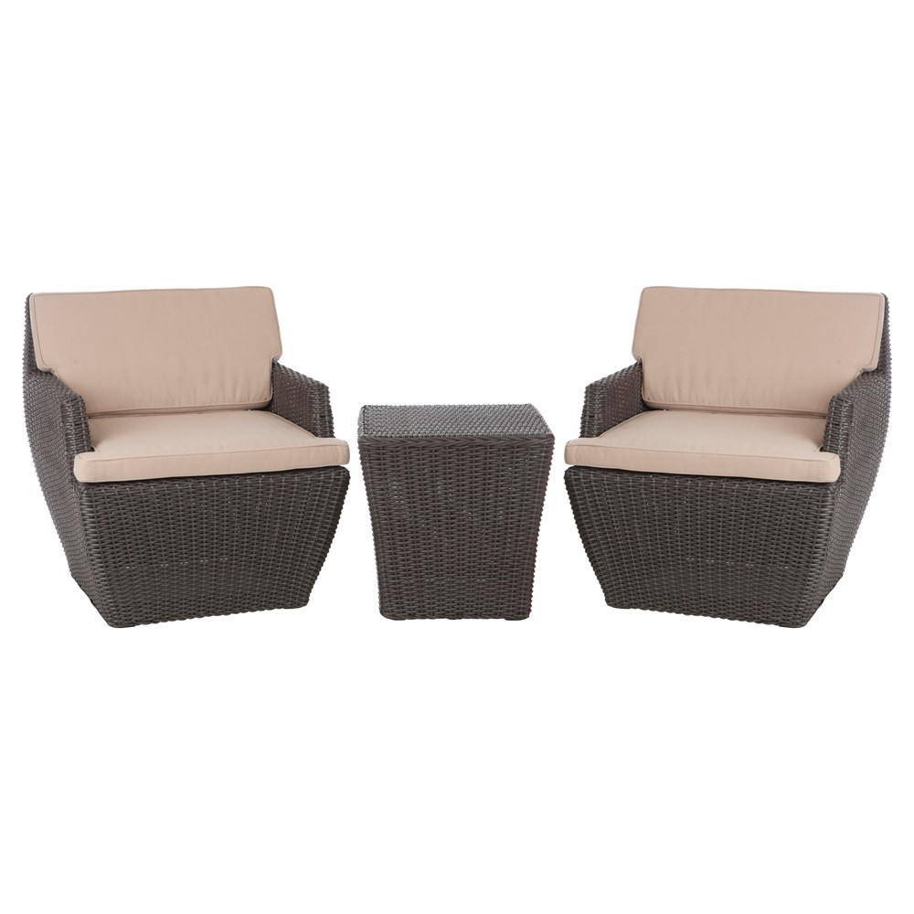 Image of Bel Cubo 3pc Square All-Weather Wicker Patio Chat Set - Brown - Fire Sense