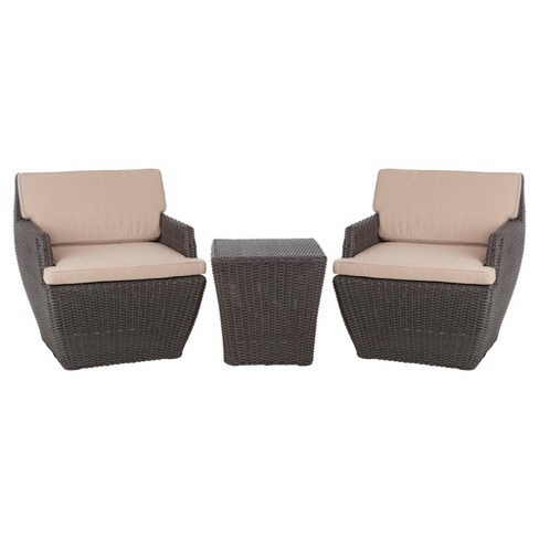 Bel Cubo 3pc Square All-Weather Wicker Patio Chat Set - Brown - Fire Sense - image 1 of 4