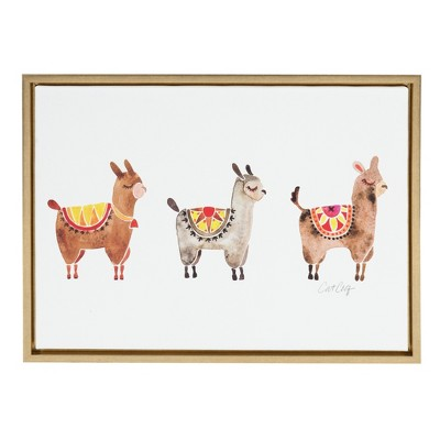 Kate & Laurel 24 x18  Sylvie Alpacas Horizontal By Cat Coquillette Framed Wall Canvas Gold