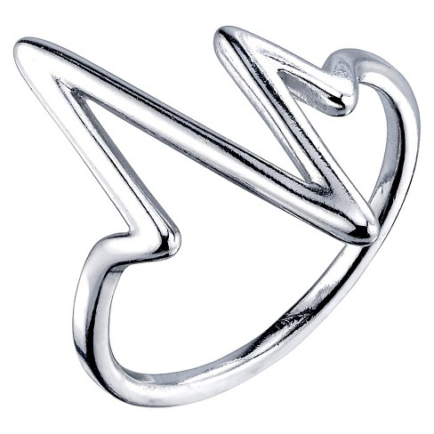 Women's Sterling Silver Polish Heartbeat Ring - Silver - image 1 of 1