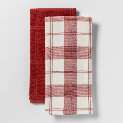 2pk Check With Solid Kitchen Towel Red - Threshold™