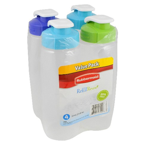Rubbermaid Refill Reuse Chug Water Bottle - 20oz 4pk - image 1 of 2