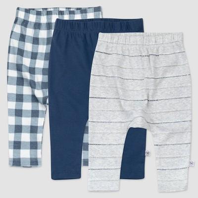 Honest Baby Boys' 3pk Organic Cotton Painted Buffalo Cuff-Less Harem Pull-On Pants - Navy/Gray 0-3M