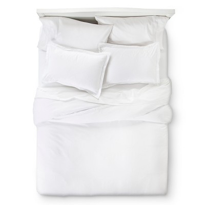 White 400 Thread Count Hemstitch Solid Duvet Cover Set King 3pc - Elite Home Products