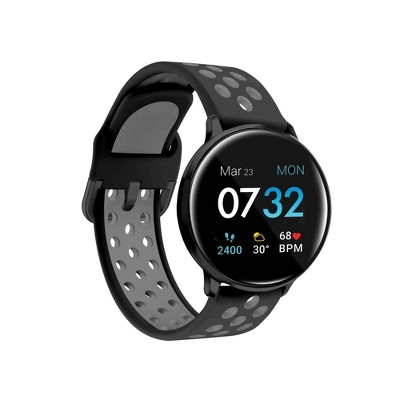 iTouch Sport Fitness Smartwatch - Black Case with Black/Gray Perforated Strap