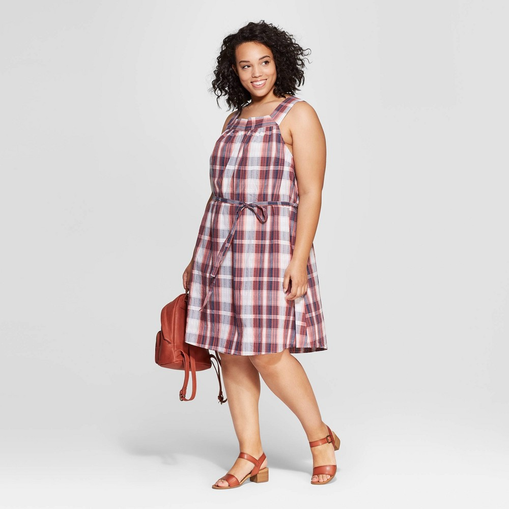 Women's Plus Size Plaid Sleeveless Square Neck Dress - Universal Thread Blue 4X