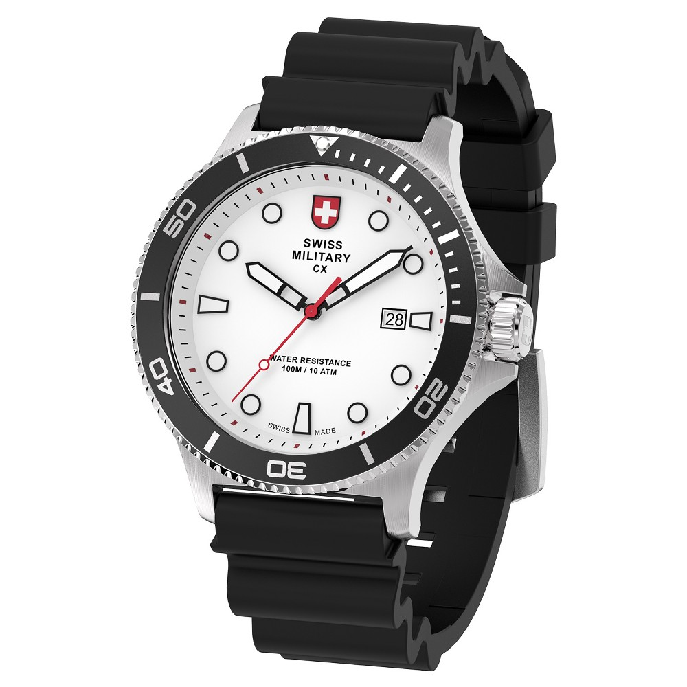 Men's Swiss Military by Charmex Diving silver tone silicone band watch - Black