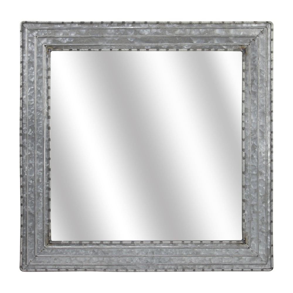 "Image of ""21.65x1.77""""x21.65"""" Galvanized Square Metal Wall Mirror Gray - E2 Concepts"""