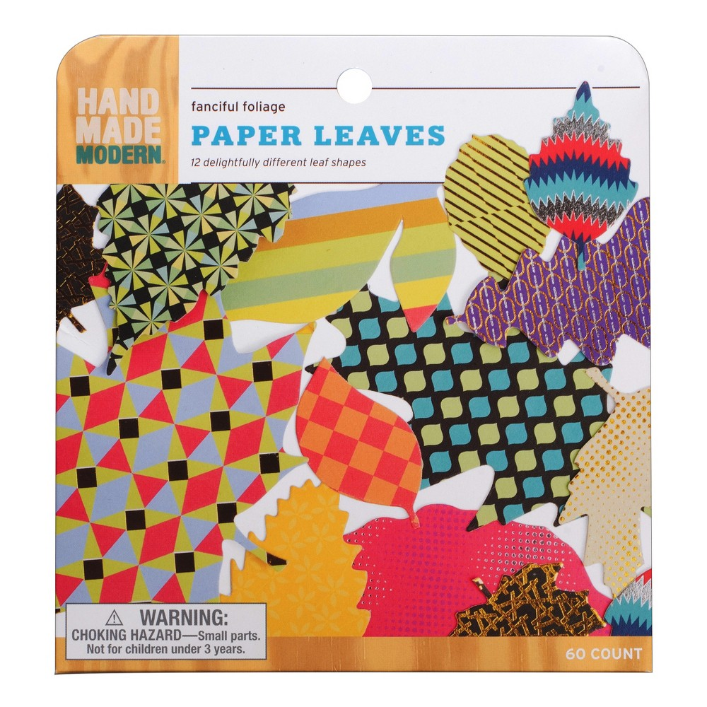 Printed Paper Leaf Set 60ct - Hand Made Modern, Multi-Colored