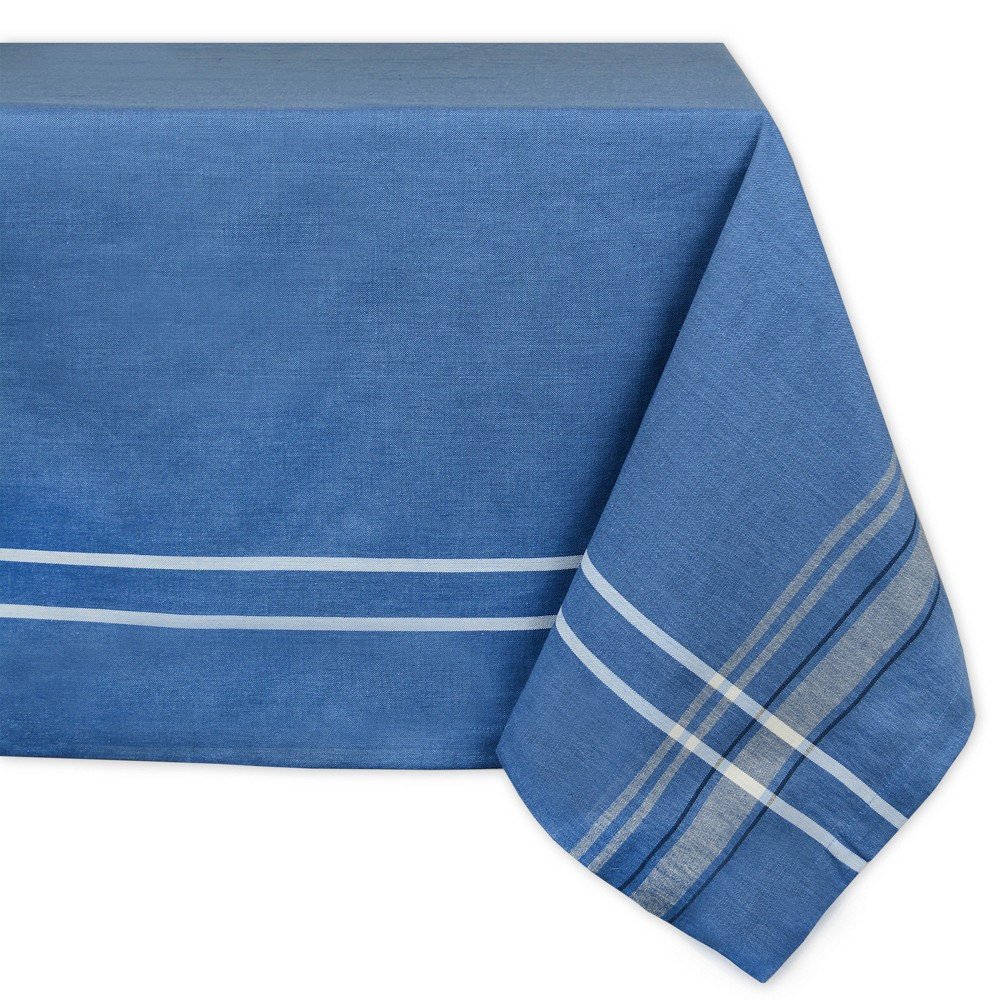 120 X60 French Stripe Chambray Tablecloth Blue Design Imports