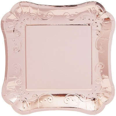 """Sparkle and Bash 48 Packs Square Paper Party Plates, Disposable Dinner Plate Dinnerware Party Supplies Rose Gold 9x9"""""""