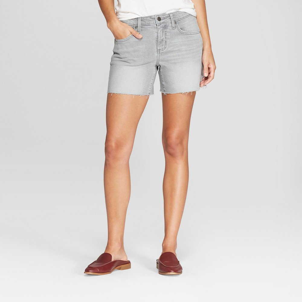Women's Mid-Rise Boyfriend Jean Shorts - Universal Thread Gray 8
