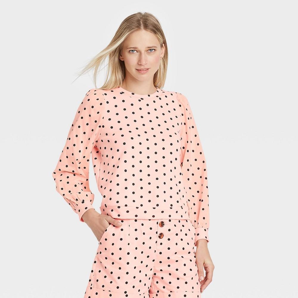 Women 39 S Polka Dot Sweatshirt Who What Wear 8482 Pink S