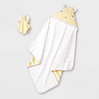 Baby Girls' Bee Hooded Bath Towel And Washcloth Set - Cloud Island™ Yellow One Size