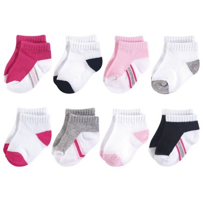 Hudson Baby Infant Girl Cotton Rich Newborn and Terry Socks, White Pink Black