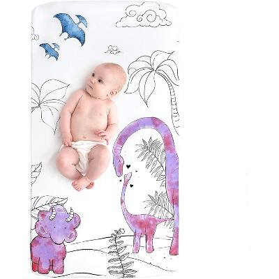JumpOff Jo Fitted Crib Sheet - Cotton Crib Sheet for Standard Sized Crib Mattresses - Hypoallergenic and Breathable - 28 x 52 Inches - Pink Dinosaur