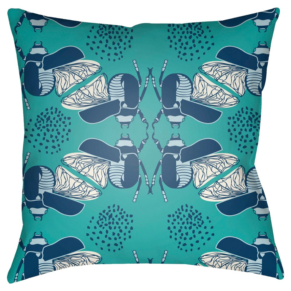 Teal (Blue) Bug Print Deco Throw Pillow 18
