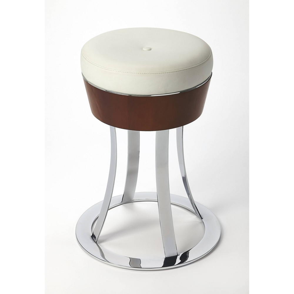Laney Chrome Plated Leather Counter Stool White - Butler Specialty