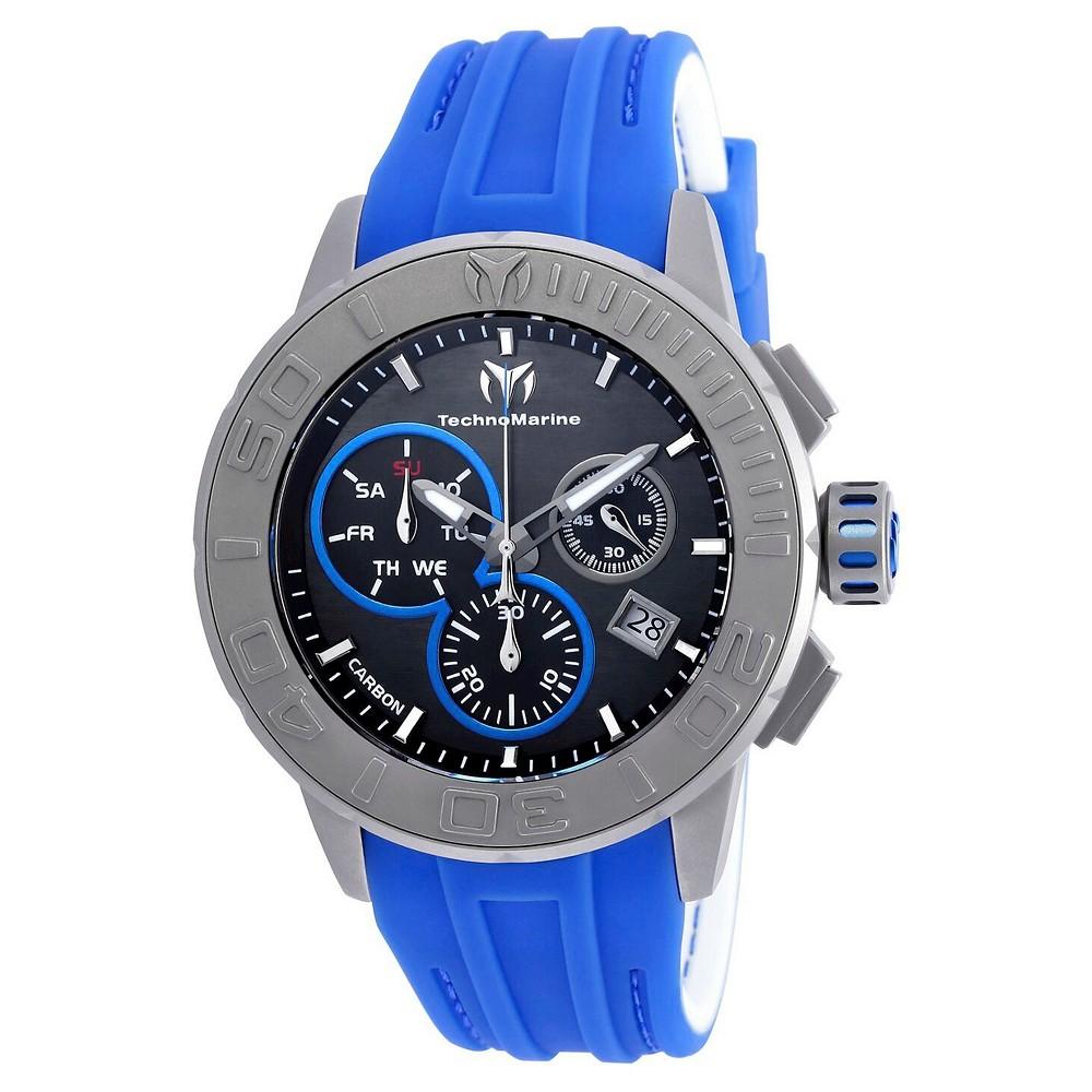 Men's Technomarine TM-515003 Titanium Reef Quartz Chronograph Charcoal Dial Strap Watch - Blue