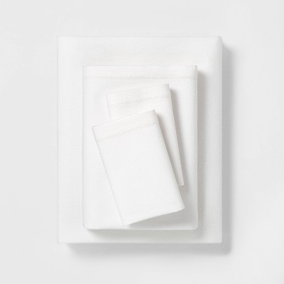Queen Solid Linen Blend Sheet Set - Fresh White - Hearth & Hand™ with Magnolia