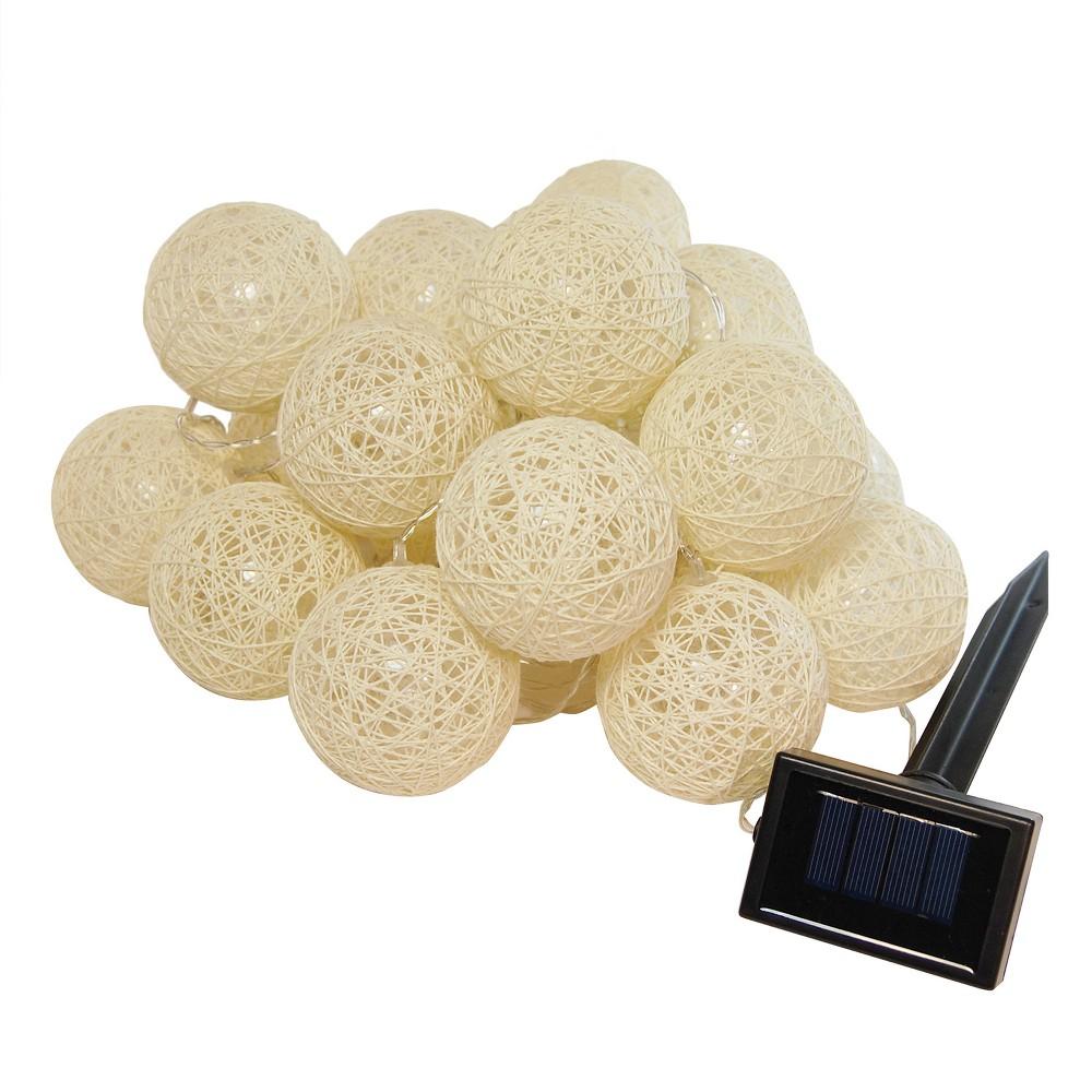 Image of 20 Lights Warm Solar Cotton Globe String Lights LED White