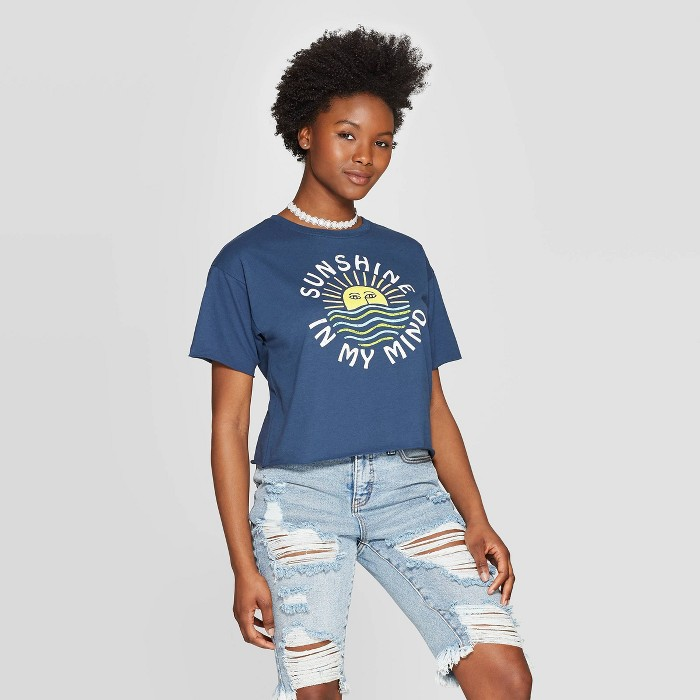 Women's Short Sleeve Sunshine in My Mind Cropped Graphic T-Shirt - Modern Lux (Juniors') - Blue - image 1 of 2