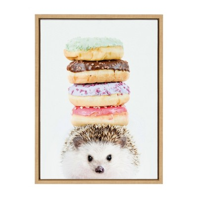"""18"""" x 24"""" Sylvie Hedgehog Donuts Framed Canvas Wall Art by Amy Peterson Natural - DesignOvation"""
