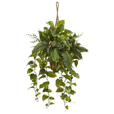 """46"""" x 28"""" Artificial Mixed Pothos and Boston Fern in Hanging Basket - Nearly Natural"""