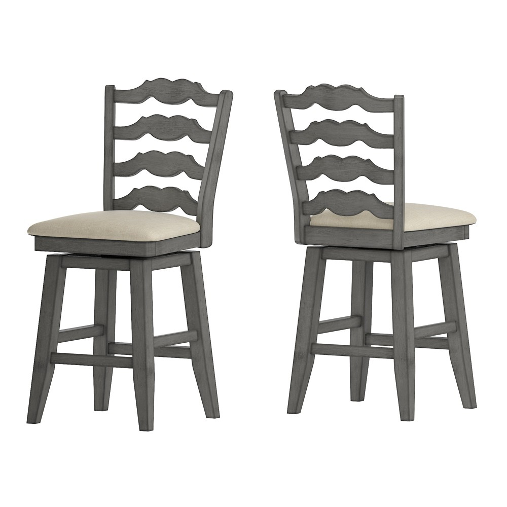 """Image of """"24"""""""" South Hill French Ladder Back Swivel Counter Height Chair Gray - Inspire Q"""""""