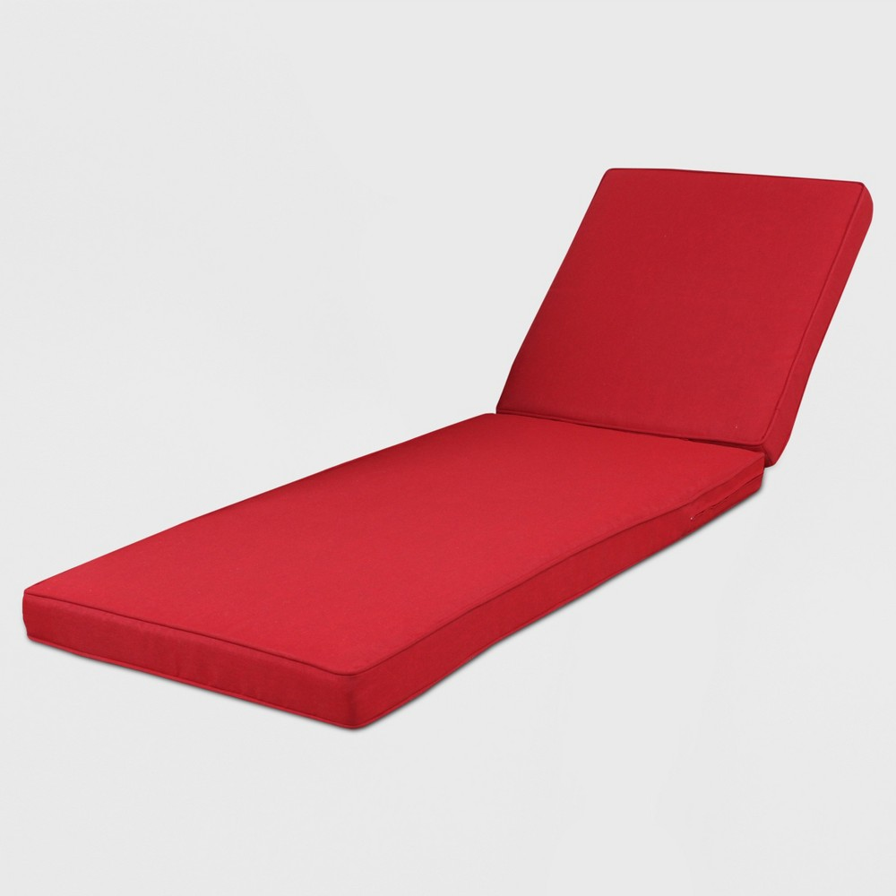 Rolston Outdoor Chaise Lounge Cushion Red - Grand Basket