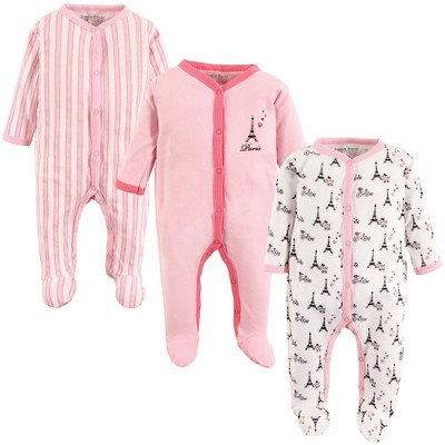 Luvable Friends Baby Girl Cotton Snap Sleep and Play 3pk, Paris