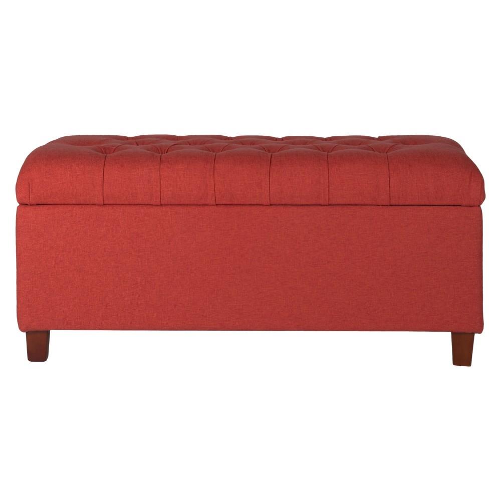 Homepop Tufted Storage Bench – Burnt Red