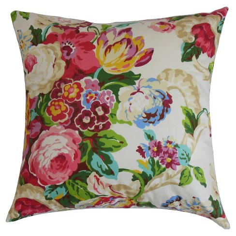 red bright spring floral throw pillow 18x18 the pillow collection - The Pillow Collection