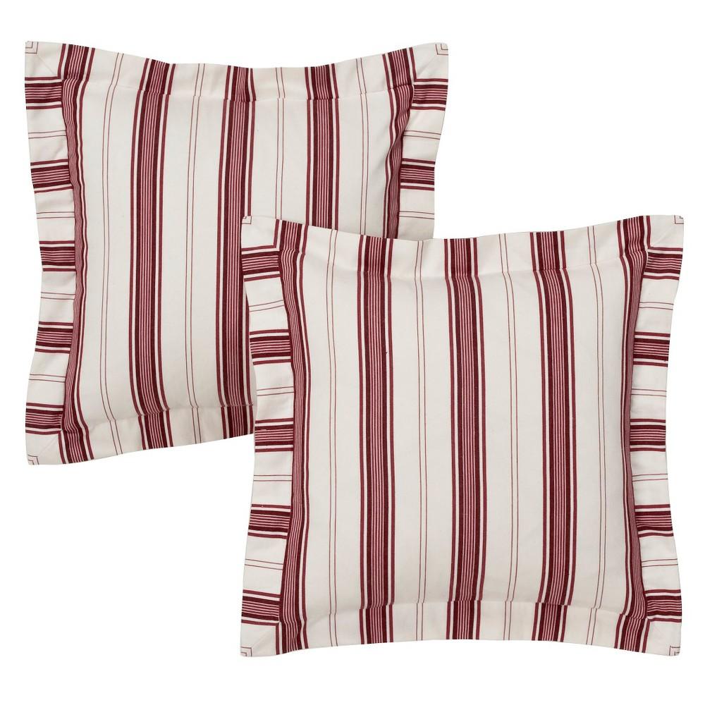 """Image of """"Red/White Kitchen Stripe Pair Throw Pillow 16"""""""" - No Brand"""""""