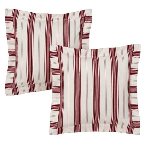 """Red/White Kitchen Stripe Pair Throw Pillow 16"""" - No Brand - image 1 of 1"""