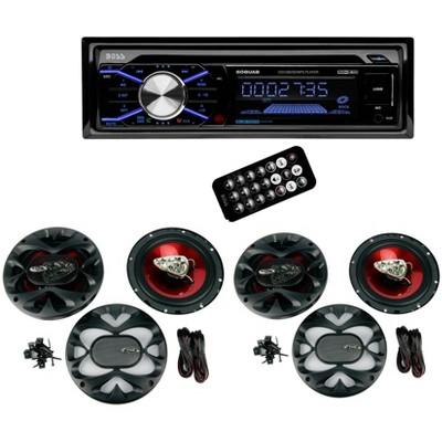 "Boss 508UAB Dash CD Car Player USB/ MP3 Receiver Bluetooth + 4 6.5"" Speakers"
