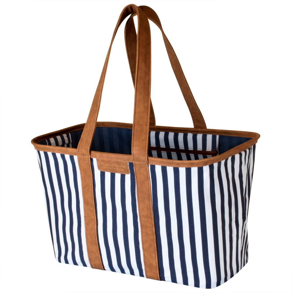 Image of CleverMade SnapBasket LUXE Tote - Navy Striped