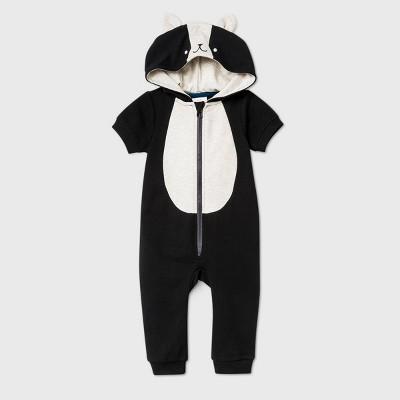 Baby Short Sleeve Skunk Romper - Cat & Jack™ Black 3-6M