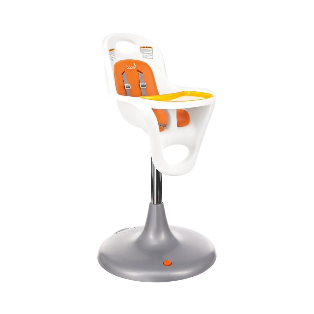 Boon Flair Pedestal High Chair - Orange, Coconut Seat/Tangerine Pad