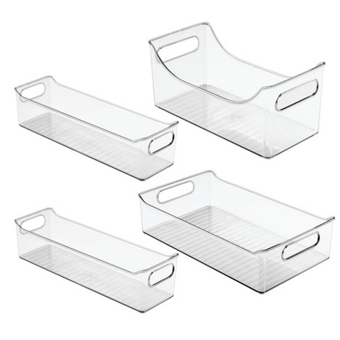 mDesign Plastic Food Storage Bins for Kitchen Cabinet, Pantry, Set of 4 -  Clear