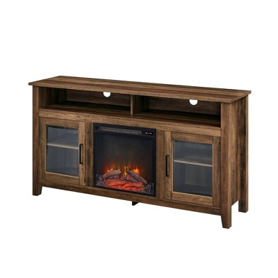 """Ackerman Modern Transitional Tall with Electric Fireplace TV Stand for TVs up to 65"""" Rustic Oak - Saracina Home"""